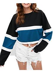 billige -Kvinder går ud i langærmet slank sweatshirt - farveblokbesætningshals