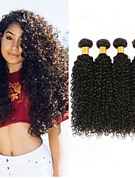 cheap -4 Bundles Kinky Curly 8A Human Hair Unprocessed Human Hair Natural Color Hair Weaves / Hair Bulk Extension Bundle Hair 8-28 inch Natural Color Human Hair Weaves Valentine Cosplay Soft Human Hair