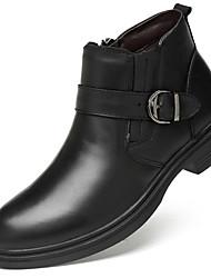 billiga -Herr Fashion Boots Nappaskinn Höst Affär / Ledigt Stövlar Håller värmen Stövletter Svart