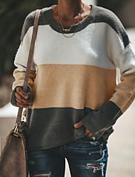 billige -Dame Basale / Gade Pullover - Farveblok, Patchwork