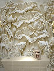 Недорогие -обои / фреска холст Облицовка стен - Клей требуется Однотонный / Ар деко / 3D