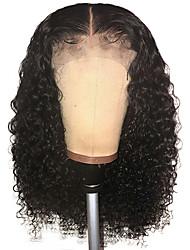 voordelige -Mensen Remy Haar Kanten Voorkant Pruik Bobkapsel stijl Braziliaans haar Recht JerryKrul Pruik 150% Haardichtheid met babyhaar Natuurlijke haarlijn Afro-Amerikaanse pruik onverwerkte Gebleekte knopen