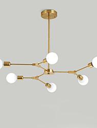 baratos -galvanizado europa do norte lustre 6-cabeça moderna moléculas de metal luzes pingente sala de estar sala de jantar quarto