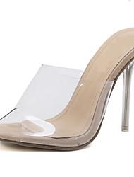Недорогие -Жен. Прозрачная обувь ПВХ Лето На каждый день Сандалии На шпильке Открытый мыс Миндальный