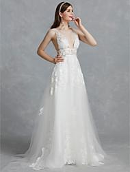 baratos -Linha A Decote V Cauda Escova Renda / Tule Vestidos de casamento feitos à medida com Apliques / Renda de LAN TING BRIDE® / Pretíssimos