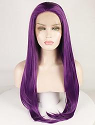 voordelige -Pruik Lace Front Synthetisch Haar Natuurlijk golvend / Natuurlijk recht Paars Gratis deel Paars 180% Human Hair Density Synthetisch haar 18-26 inch(es) Dames Zacht / Glad / Verstelbaar Paars Pruik