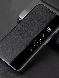 Недорогие -Кейс для Назначение Huawei Mate 10 pro / Mate 10 с окошком / Флип / Полупрозрачный Чехол Однотонный Твердый Кожа PU для Mate 10 / Mate 10 pro / Mate 9 / Mate 9 Pro