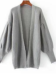 Недорогие -Жен. Повседневные Однотонный Длинный рукав Обычный Пуловер Черный / Серый S / M