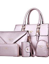 billiga -Dam Väskor Polyester / PU bag set 5 st handväska Ensfärgat Mjölkvit / Fuchsia / Ljuslila