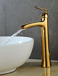 Недорогие -Ванная раковина кран - Водопад Золотой / Живопись По центру Одной ручкой одно отверстие