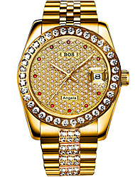 baratos -Angela Bos Homens Relógio de Pulso Japanês Automático - da corda automáticamente Prata / Dourada 30 m Impermeável Calendário Relógio Casual Analógico Luxo Casual - Dourado Prata / Aço Inoxidável