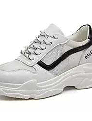 baratos -Mulheres Sapatos Confortáveis Com Transparência Primavera & Outono Tênis Corrida Salto Baixo Preto / Rosa e Branco / Branco / Preto