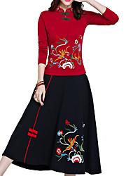 abordables -Femme Chinoiserie Balançoire Jupes - Couleur Pleine / Géométrique