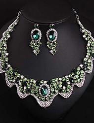 abordables -Femme Vert Gemme Classique Ensemble de bijoux - Vague Elégant, Luxe, Original Comprendre Nuptiales Parures Vert Pour Mariage Soirée