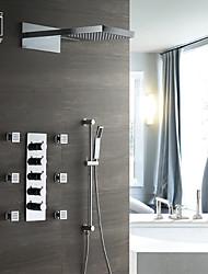 abordables -Robinet de douche - Moderne Chrome Montage mural Soupape céramique / Laiton