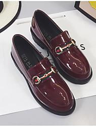 abordables -Femme Chaussures de confort Cuir Verni Hiver Mocassins et Chaussons+D6148 Talon Bottier Noir / Vin