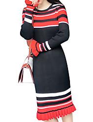 baratos -Mulheres Básico Tricô Vestido Listrado Altura dos Joelhos