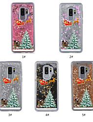 Недорогие -Кейс для Назначение SSamsung Galaxy S9 Plus / S9 Движущаяся жидкость / Прозрачный / С узором Кейс на заднюю панель Рождество Твердый ТПУ для S9 / S9 Plus