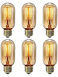 Недорогие -6 шт. Затемнения t45 40 Вт e27 теплый белый цвет декоративные ретро лампы накаливания старинные лампочки эдисона ac220-240 В