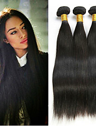 cheap -3 Bundles Peruvian Hair Straight 8A Human Hair Unprocessed Human Hair Natural Color Hair Weaves / Hair Bulk Extension Bundle Hair 8-28 inch Natural Color Human Hair Weaves Smooth Classic Best Quality