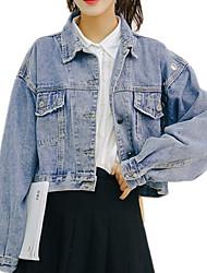 お買い得  -女性用 デニムジャケット - ベーシック ソリッド