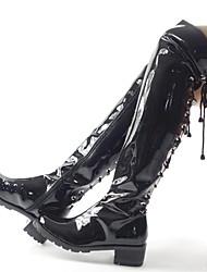 billiga -Dam Fashion Boots Syntet Vinter Ledigt / Brittisk Stövlar Bastant klack Over-knee-stövlar Rosett Svart / Fest / afton / Leopard
