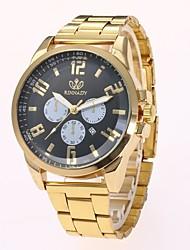 Недорогие -Муж. Наручные часы Кварцевый Золотистый Календарь Повседневные часы Крупный циферблат Аналоговый На каждый день Мода - Золотой Черный Один год Срок службы батареи