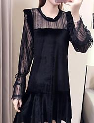 Недорогие -Жен. Маленькое черное Платье - Однотонный Выше колена