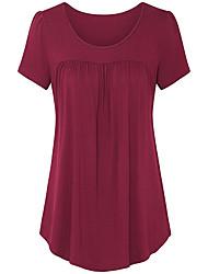 billige -Dame - Ensfarvet Flettet Basale T-shirt