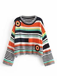 Недорогие -Жен. Повседневные Полоски Длинный рукав Обычный Пуловер Хлопок Цвет радуги Один размер