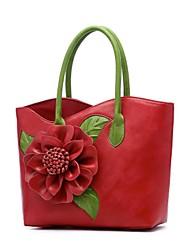 Недорогие -Жен. Мешки PU Сумка-шоппер Цветы Красный / Лиловый / Пурпурный