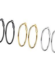 Недорогие -Жен. Аппликация Серьги-кольца - Нержавеющая сталь Мода Цвет радуги Назначение Подарок Повседневные / 3 пары