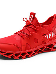 baratos -Homens Sapatos Confortáveis Tecido elástico Outono Esportivo / Casual Tênis Corrida Não escorregar Branco / Preto / Vermelho