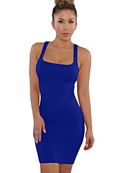 abordables -Femme Au dessus du genou Courte Robe Couleur Pleine A Bretelles Rouge Vin Bleu royal M L XL Sans Manches