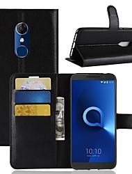 Недорогие -Кейс для Назначение Alcatel Alcatel 3 / Alcatel 1 Кошелек / Бумажник для карт / Флип Чехол Однотонный Твердый Кожа PU для Alcatel 5044r / Alcatel 3 / Alcatel 3C