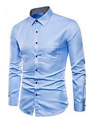 Недорогие -Муж. Рубашка Активный / Классический Однотонный