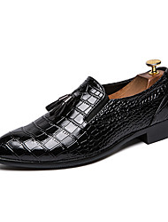 7f3b70cb4e6 Men s Leather Shoes Leather Winter Casual   British Loafers   Slip-Ons  Height-increasing Black   Wine   Tassel   Party   Evening