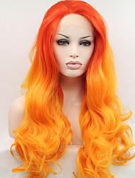 voordelige -Pruik Lace Front Synthetisch Haar BodyGolf Rood Gelaagd kapsel Oranje 130% Human Hair Density Synthetisch haar 26 inch(es) Dames Dames Rood Pruik Gemiddelde Lengte Kanten Voorkant Sylvia / Ja