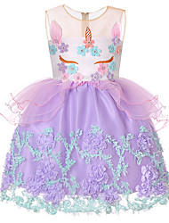 זול -שמלה ללא שרוולים קולור בלוק / טלאים בנות ילדים / פעוטות