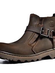 billiga -Dam Fashion Boots Nappaskinn Vinter Vintage / Ledigt Stövlar Platt klack Korta stövlar / ankelstövlar Brun