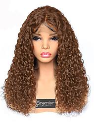 Недорогие -человеческие волосы Remy Лента спереди Парик Бразильские волосы Кудрявый Парик Глубокое разделение 180% Плотность волос с детскими волосами Лучшее качество Горячая распродажа Толстые Жен. Длинные