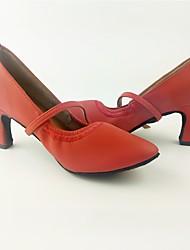 billiga -Dam Moderna skor Imitationsläder Högklackade Tvinning Kubansk klack Går att specialbeställas Dansskor Röd
