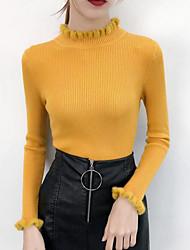 Недорогие -Жен. Повседневные Однотонный Длинный рукав Обтягивающие Обычный Пуловер Хлопок Розовый / Бежевый / Желтый Один размер