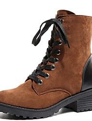 billige -Dame Fashion Boots PU Efterår Afslappet Støvler Kraftige Hæle Rund Tå Støvletter Sort / Gul