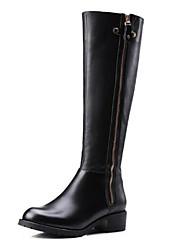 billiga -Dam Fashion Boots Nappaskinn Vinter Stövlar Låg klack Stängd tå Over-knee-stövlar Svart