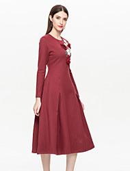 Недорогие -Жен. Классический / Изысканный С летящей юбкой Платье - Цветочный принт, Вышивка Средней длины Цветок солнца