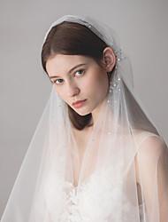 Недорогие -Один слой Европейский стиль Свадебные вуали Фата до кончиков пальцев с Стразы 47,24 В (120) Хлопок / нейлон с намеком на участке