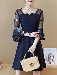 Недорогие -женский плюс размер оболочка платье длиной до колена глубокий v