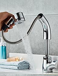 Недорогие -Ванная раковина кран - Новый дизайн Никель Полированная По центру Одной ручкой одно отверстие