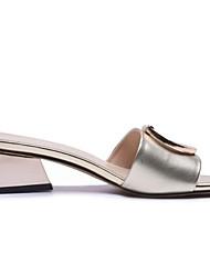 Недорогие -Жен. Комфортная обувь Наппа Leather Весна Сандалии Блочная пятка Золотой / Белый